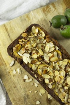 Easy to make Paleo Banana & Feijoa Bread - This bread has a natural sweetness from the bananas that goes nicely against the sharp feijoas. This low carb bread is gluten free and easy to make! It makes an easy paleo snack or paleo breakfast.