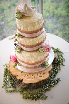 Kristina  Jeffery's Farm Wedding - Beautiful cake made by the groom's sister and from his grandparents farm his father cut a slice from an apple tree to make the cake stand.