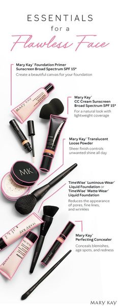 A flawless finish From primer to powder here are the makeup essentials you need to conceal correct and cover Mary Kay Mary Kay Party, Mary Kay Ash, Mary Kay Cosmetics, Diy Makeup Primer, Makeup Tips, Mary Kay Foundation Primer, Mary Kay Primer, Flawless Foundation, Make Up Primer