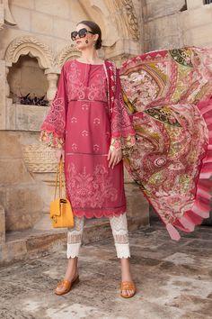 Pakistani Lawn Suits, Pakistani Dresses, Designer Wear, Designer Dresses, Maria B Lawn, Kurta Patterns, Cool Fabric, Pink Fabric, Salwar Kameez
