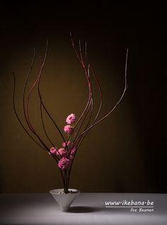 Flames - Sogetsu Ikebana made with Cornus Candle Arrangements, Ikebana Flower Arrangement, Ikebana Arrangements, Floral Arrangements, Centerpieces, Japanese Plants, Japanese Flowers, Ikebana Sogetsu, Corporate Flowers