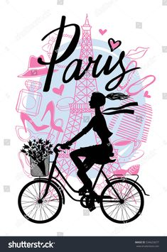 A girl rides a Bicycle. Vector hand drawn illustration with Eiffel tower. Pink Paris Wallpaper, Cute Girl Wallpaper, Bear Wallpaper, Illustration Parisienne, Paris Illustration, Art Parisien, Butterfly Drawing, Birthday Mug, Beautiful Fantasy Art