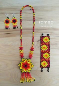 Items similar to Gorgeous Handmade Beaded Chaquira Necklace - Mexican - Romea Accessories - Huichol art piece - Black/ Multicolor / White Orange on Etsy Beaded Necklace Patterns, Beaded Choker Necklace, Seed Bead Necklace, Seed Bead Bracelets, Beaded Jewelry, Flower Necklace, Crystal Jewelry, Mexican Jewelry, Tribal Patterns