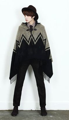 Mens Korean Fashion Indie ZigZag Hooded Cape by ShowRoom44, $110.00