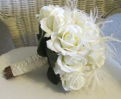 Bridal bouquet with feathers and Pearls