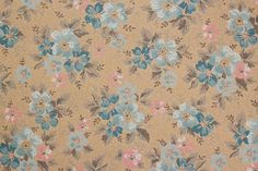 1930's Vintage Wallpaper Pink and Blue Flowers by RosiesWallpaper