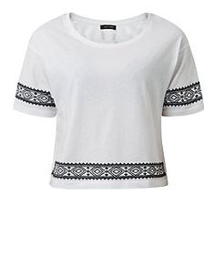 White Embroidered Aztec Trim 1/2 Sleeve Top  | New Look