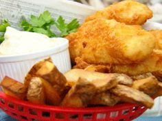 Get Beer Battered Fish and Chips Recipe from Food Network