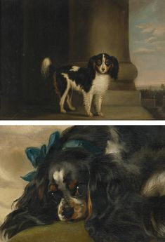 Collection of Brooke Astor -  Follower of Sir Edwin Henry Landseer, R.A.,  KING CHARLES SPANIEL -  oil on panel.  Together with Attributed to Samuel Raven, KING CHARLES SPANIEL ON A TERRACE, oil on canvas.  2 works. sight: 6 3/4 by 9 in. 17.2 by 22.9 cm