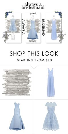 """Always a Bridesmaid in Pastel Blue"" by xoliya-benox ❤ liked on Polyvore featuring Monique Lhuillier and Chi Chi"