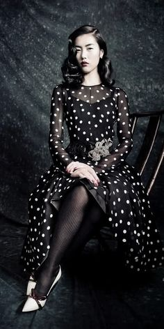 """Dream Away"" Liu Wen in Dolce & Gabbana Fall 2010 | photo by Paolo Roversi | Vogue China Sept 2010"