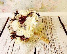 Winter wedding rustic wonderland MEDIUM bridal bridesmaid BOUQUET Cream Flowers, pine cones,  sola roses,  lace pearl pins - pinned by pin4etsy.com