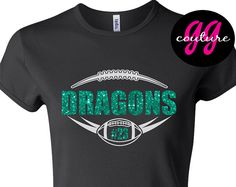 Glitter Football T-Shirt - Personalize Text and Number