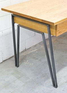 Nicodi Writing Desk. American Cherry, Solid steel base with antique gun metal Patina.