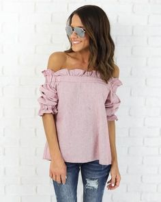 14 lovely ways to wear striped off the shoulder tops in spring