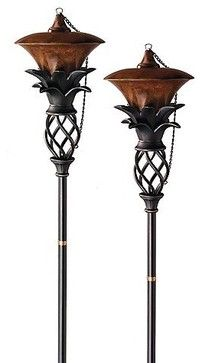 Set of Two Pineapple Torches - traditional - outdoor lighting - FRONTGATE