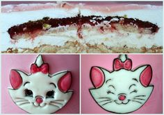 Marie the aristocats- fondant decor and  almond sponge &white chocolate mousse with insert of strawberry and pistachio