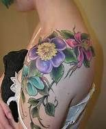 Shoulder Tattoos Flowers Women - Bing Images.  really want this one.