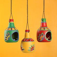 'The Bottle Trio' Terracotta Hanging Tea-Light Holders (Set Of – ExclusiveLane
