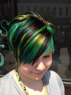 Cool green streaked dyed short haircut for women