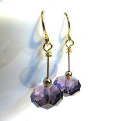 Purple swarovski earrings