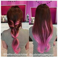 At Our Bellamibeautybar Beautiful Work By Hairguru Gabriellademarco Featuring 4 Bellamichocolatebrownpastelpink Ombre Come Visit Us If You Re