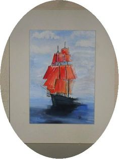 PRINT ORIGINAL PAINTING  ship print boat print by darinecraftyshop, £15.00