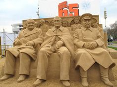 Incredible sand sculpture of 'The Big Three' at the Yalta Conference - Winston Churchill, Franklin D Roosevelt and Joseph Stalin - is seen in Moscow