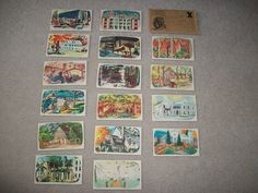 AUNT JEMIMA SET OF 16 FAMOUS RECIPE CARDS OF FAMOUS PLACES~1950s