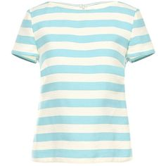 REDValentino Beach Stripe Cotton Top ($148) ❤ liked on Polyvore featuring tops, flounce tops, rouched top, stripe top, shirred top and boxy tops