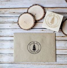 Customized Woodland Save the Date Winter Wedding Invitation Rubber Stamp