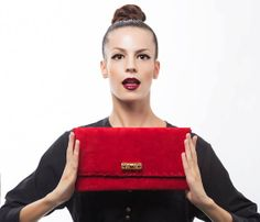 Red Leather Clutch  Suede Evening Envelope Purse by EleannaKatsira, €90.00