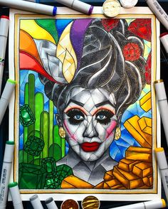 Finished! My stained glass style portrait of Bianca Del Rio @thebiancadelrio !! I recreated her Tin Man look from the season 7 finale of @rupaulsdragrace and added extra Wizard of Oz imagery around her. This one was SO fun to work!! Bianca Del Rio you are such an inspiring queen - I BOW TO THEE!! 🌈✨❤💛💚💙💜✨🌈  #illustration #rupaulsdragrace