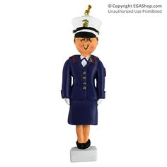 Ornament: Female Marine in Dress Blues Brunette