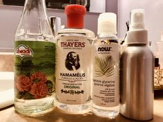 Homemade toner 🌹🌙 1tbsp witch hazel (alcohol free) 1tbsp vegetable glycerine  Add edible rose water to fill 3/4 of your container and 1/4 water   Shake  Spray!🧘♀️