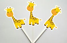 Giraffe Cupcake Toppers, Jungle Cupcake Toppers, Safari Cupcake Toppers by CraftyCue on Etsy