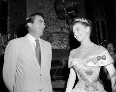 with Gregory Peck palling around on the set of Roman Holiday, 1953.