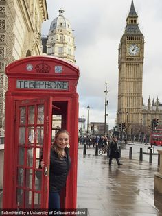 Junior, Alexa Alter visits Big Ben while studying theater in London, England. #UDAbroad