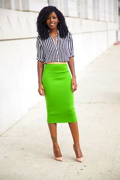 @ Style Pantry Structured Blazer + Striped Shirt + Pencil Skirt