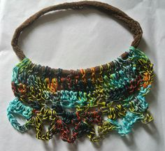 Crochet thread stitched around old fishnets to make upcycled jewelry