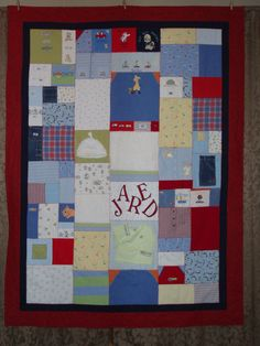 Memory quilt out of baby clothes. I will be making each of my kids one of these.