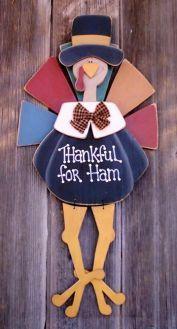 Cute hanging wood craft Thanksgiving Turkey