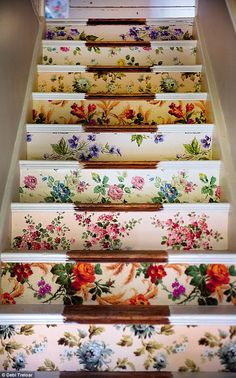 Sarah Moore of The Great British Interior Design Challenge. Stairs covered in vintage wallpaper.