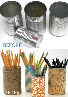 These quick and easy Upcycled DIY Pencil Holders are a great way to keep your desk and office space organized.