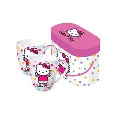Set of 2 Polka Dot Hello Kitty Porcelain Coffee Mugs with Gift Box - 14 ounces