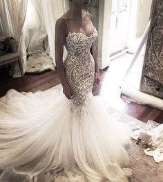 Wedding Dresses,Wedding Gown,Princess Wedding Dresses Mermaid Wedding Dress with Spaghetti Straps - Thumbnail 1