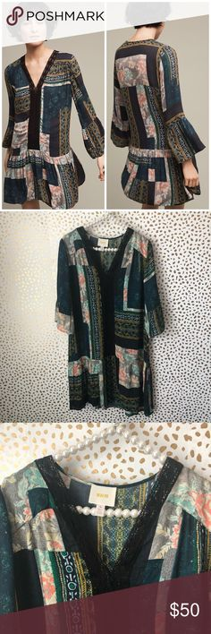 Anthropologie Maeve Patchwork Peasant Dress So cute and perfect for any season! Excellent pre owned condition. Does not come with a slip, can be worn over any basic. Size medium. No trades!! Anthropologie Dresses Mini