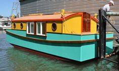 this boat always makes me smile Small Houseboats, Float Life, Shanty Boat, Dutch Barge, Make A Boat, Trailer Plans, Boat Trailer, Solar Panels For Home, Boat Stuff