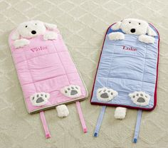 I want these for my kids!  Super expensive, though.  Shaggy Dog Toddler Sleeping Bags | Pottery Barn Kids  $69