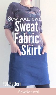 Learn to draft your own simpel sewing pattern and sew a knit skirt in your own size. Step by step sewing tutorial - SewNatural Easy Sewing Patterns, Sewing Tutorials, Clothing Patterns, Sweater Skirt, Knit Skirt, Sew Your Own Clothes, Different Types Of Fabric, Sewing Basics, Learn To Sew